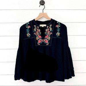 Loft black floral embroidered peplum top